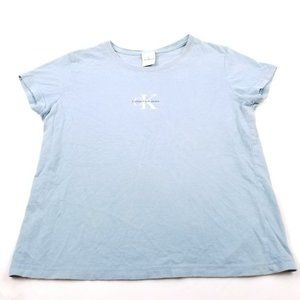 Calvin Klein Jeans Baby Blue White Logo T-Shirt L
